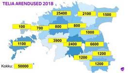 Vaata, kui palju rajati 2018. aastal maakondades Telia kiiret internetivõrku