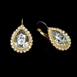 Diamond Sky Earrings With Crystals From Swarowski Heavenly Drop Silver Patina