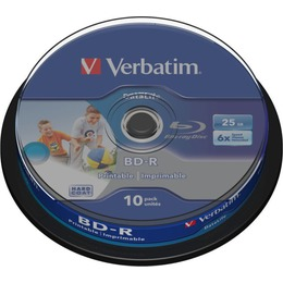 Verbatim Blu-Ray BluRay BD-R SL DATALIFE [ Spindle 10 | 25GB | 6x [Wide PRINTABLE NO ID]
