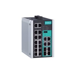 MOXA Switch: 14 x 10/100BaseT(X), 4 x 10/100/1000BaseT(X) or 100/1000BaseSFP port -40 kuni 75°C