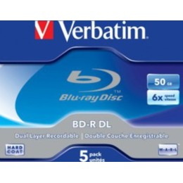 Verbatim Blu-Ray BluRay BD-R Dual Layer [ jewel case 5 | 50GB | 6x | Scratchguard Plus ]