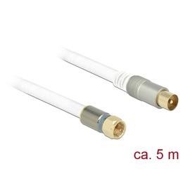 Delock Antennikaabel F pistik / IEC pistik 5.0m RG-6/U, premium, kullatud otstega, valge