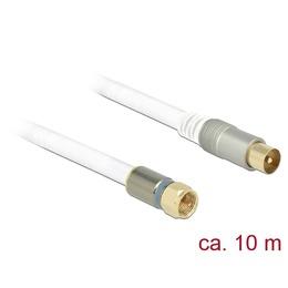 Delock Antennikaabel F pistik / IEC pistik 10.0m RG-6/U, premium, kullatud otstega, valge