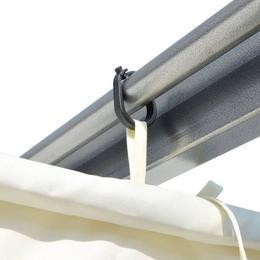 vidaXL tagasitõmmatava katusega lehtla, kreemjasvalge 3 x 3 m teras 49325