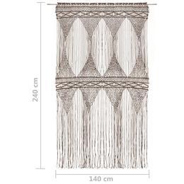 vidaXL makrameekardin, pruunikashall 140 x 240 cm puuvill 323984