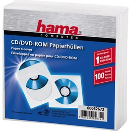 Hama  1x100 CD/DVD Paper Sleeves white 62672