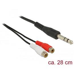 Delock 6.35mm (M) - 2xRCA (F) kaabel 0.28m , 28 AWG, must