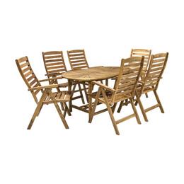 H4Y  Komplekt FINLAY laud ja 6 tooli (13184), 153/195x90xH72cm, pikendatav, puit: akaatsia, viimistlus: õlitatud