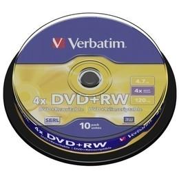 Verbatim DVD+RW 4x 4,7GB cake 10 tk