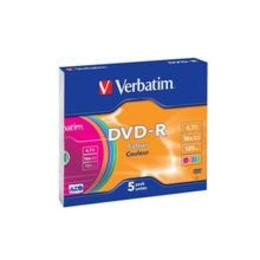 Verbatim DVD-R 4.7GB 16X 5pack slim box Colour Surface