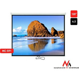 "Maclean Ekraan Projection Screen MC-591 120"" 4:3 240x180 , auto-lock matt white wall or ceiling"