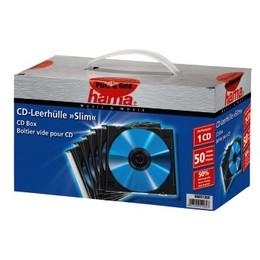 Hama CD/DVD karp Slim CD Jewel Case pack of 50 Transparent/Black (51269)