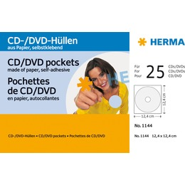 Herma SK CD/DVD-sleeves white 25pcs 1144