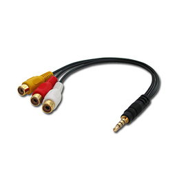 Lindy Üleminek 3.5mm (M) (4 pin) - 3xRCA (F) 0.25m, must