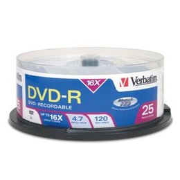 Verbatim DVD+R 16x 4,7GB advanced AZO+ cake 25 tk