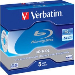 Verbatim Blu-Ray 1x5 BD-R  50GB 6x Speed, white blue Jewel Case
