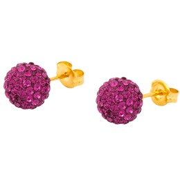 Caflon Fashion Sense Earrings 8mm Glitterball Fuchsia