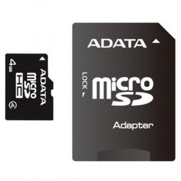 ADATA microSDHC Card SDHC 4GB Class 4 Adapt