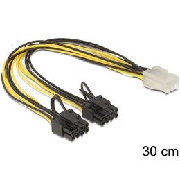 Delock Toitekaabel PCIe 6 pin (F) - 2x PCIe 8 (6+2) pin, 20 AWG, 0.3m