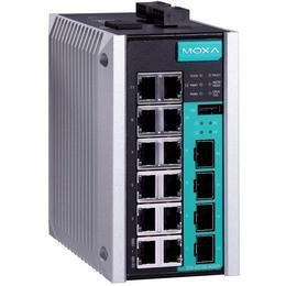 MOXA Switch: 12 x 10/100BaseT(X), 4 x 10/100/1000BaseT(X) või x SFP pesa, -40 kuni 75°C