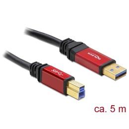 Delock USB 3.0 kaabel A - B 5.0m, kullatud metall kestaga, premium