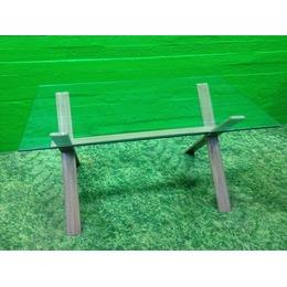 Metallist puitimitatsiooniga klaaslaud (kasutatud)