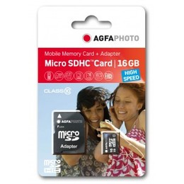 Agfaphoto microSDHC Card Mobile High Speed 16GB MicroSDHC Class 10 + Adapter