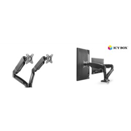 Raidsonic teleri kinnitus ICY BOX IB-MS304-T, Monitor stand with desk mounted base, for two screens, size up to 27""