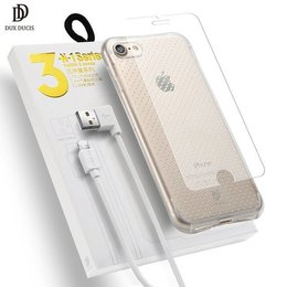 Dux Ducis Dux Ducix 3 in 1 Set / Ultra Back Case 0.3 mm / Tempered Glass 9H / Micro USB Data Cable 90 cm White / For Nokia 6