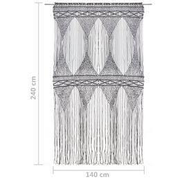 vidaXL makrameekardin, antratsiithall, 140 x 240 cm puuvill 323996