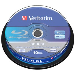 Verbatim Blu-Ray BD-R  50GB 6x Speed Cakebox 10 tk.