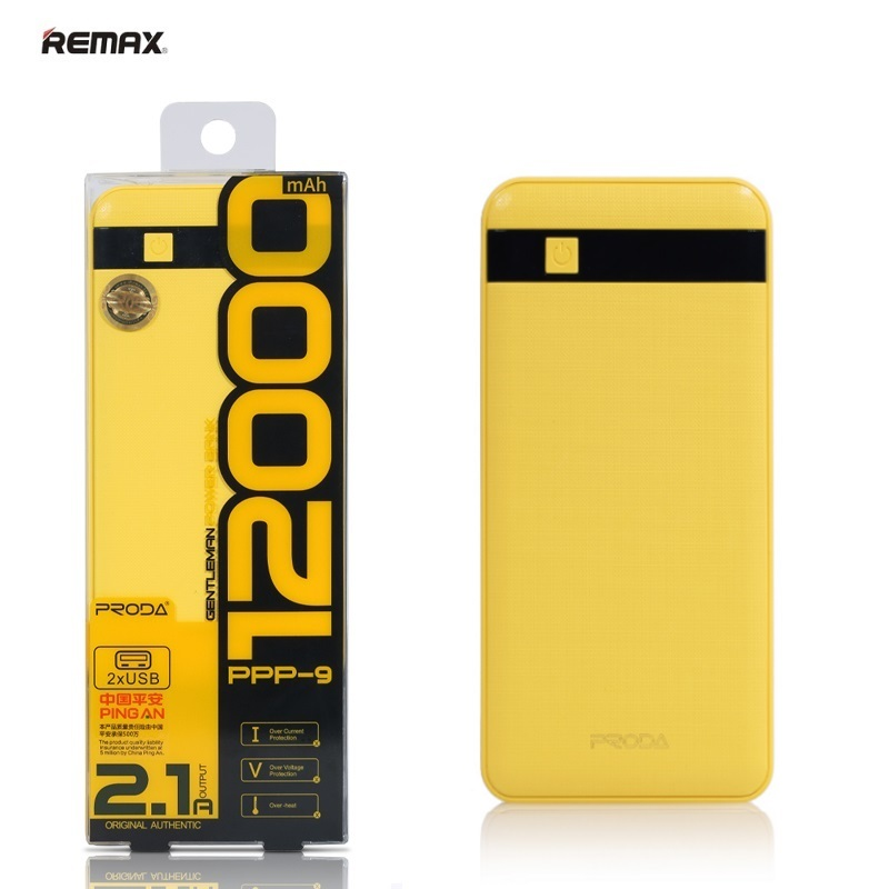 406ed832e35 Remax Proda 12000mAh Power Bank Charger Dual USB 5V 1A/2.1A Port + Led  Torch Yellow (EU Blister)