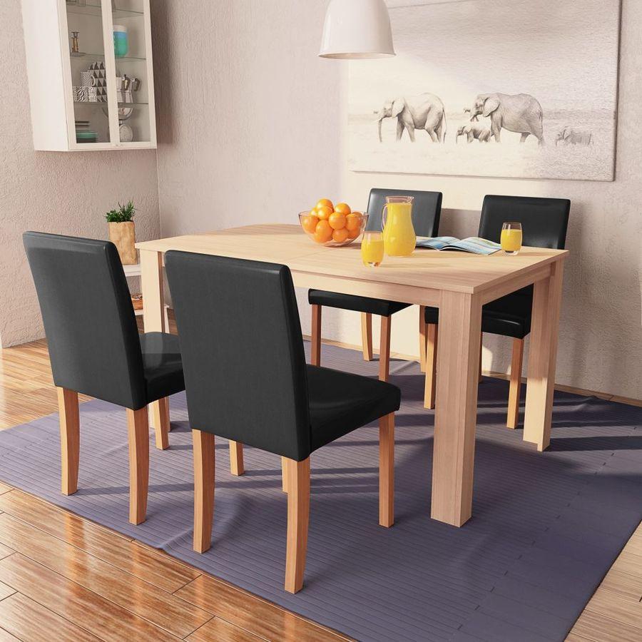 dd1da3aaa07 vidaXL söögilaud ja toolid, 5 osa, kunstnahast ja tammepuidust, must